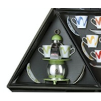 Papalina Espresso Maker Silver Double Cup Gift Set Green